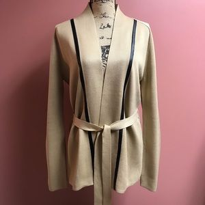 Calvin Klein Faux Leather Trim Belted Cardigan